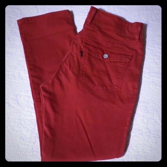 Levi's Denim - Levi's Rust Red Mid Rise Skinny Jeans Flap Pocket